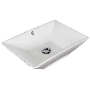 Compare prices Ceramic Rectangular Vessel Bathroom Sink with Overflow ByAmerican Imaginations