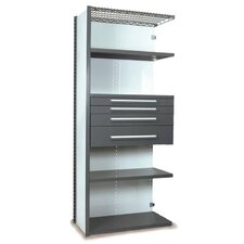 V-Grip 84 Shelving with Drawers Unit - 4Drw/5Shelf Closed AddOn, 4 drawers - (2) 3, 4.5 & 7.5 H; 400 lb capacity by Equipto