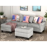 Seagrove 94.5 Linen Left Hand Facing Sofa & Chaise with Ottoman by Red Barrel Studio®