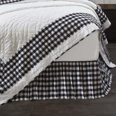 "August Grove Caulder Buffalo Check 16"" Bed Skirt  Color: Black, Size: King"