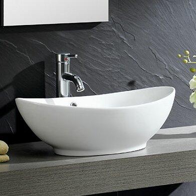 Fine Fixtures Modern Vitreous Oval Vessel Bathroom Sink
