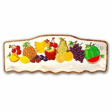 Fruit Paradise Ceramic Tropical Fruit 4 Hook Wall Hanger by ABC Home Collection