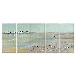 u0027a stroll down on the beachu0027 5 piece canvas wall art set u0027