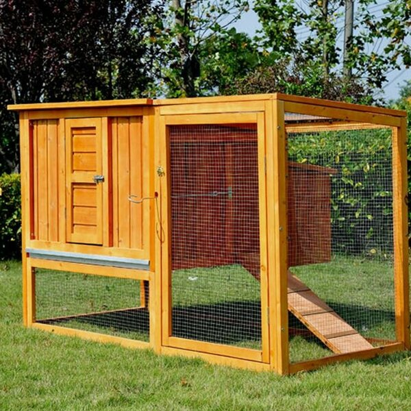 Pawhut chicken coop with nesting box and outdoor run for Fancy chicken coops for sale