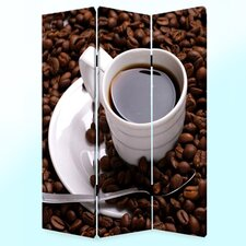 72 x 48 Coffee Time 3 Panel Room Divider by Screen Gems