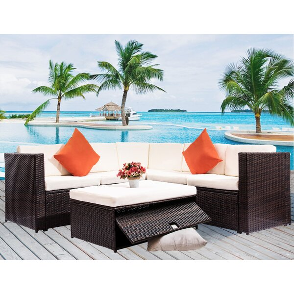 Aliscia 4 Piece Rattan Sectional Seating Group with Cushions by Latitude Run