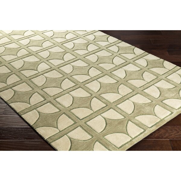 Moultry Hand-Tufted Green Area Rug by Wrought Studio