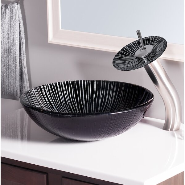 Godere Glass Circular Vessel Bathroom Sink by Novatto