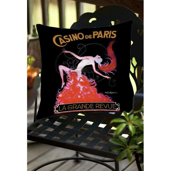 Casino De Paris Indoor/Outdoor Throw Pillow by Manual Woodworkers & Weavers