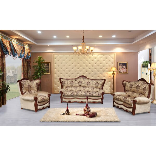 Wadley 3 Piece Brown Embossed Fabric Standard Living Room Set by Astoria Grand