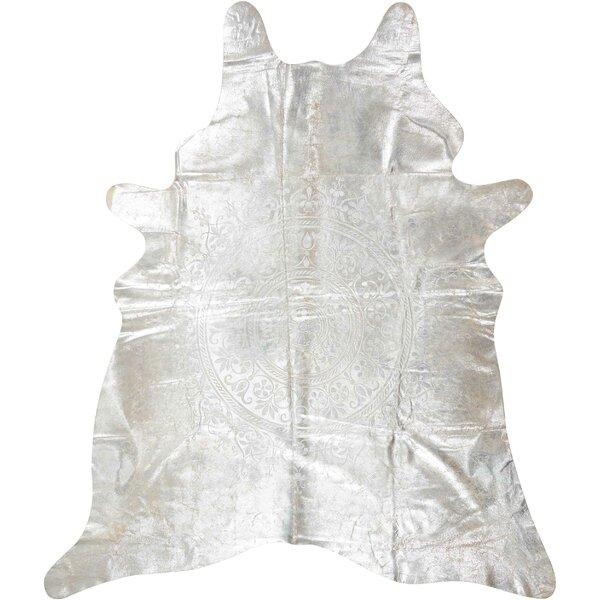 Bretta Leather Silver Area Rug by Willa Arlo Interiors