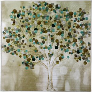 'A Teal Tree' Framed Painting Print on Wrapped Canvas by Zipcode Design