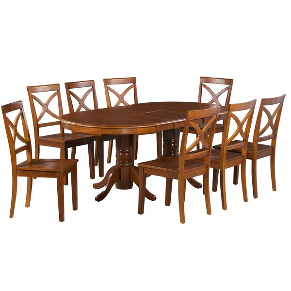 Skyler 9 Piece Extendable Solid Wood Dining Set by Alcott Hill
