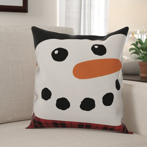 Walk Happy Snowman Throw Pillow by The Holiday Aisle