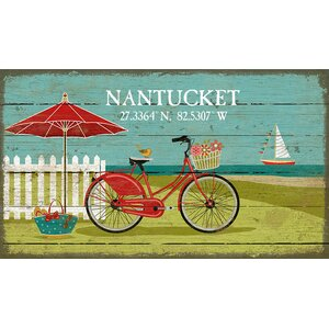 'Beach Bike' by Suzanne Nicholl Graphic Art Print on Wood by Red Horse Arts