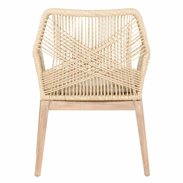 Arnone Rope Weave Solid Wood Cross Back Arm Chair (Set Of 2) By Bungalow Rose