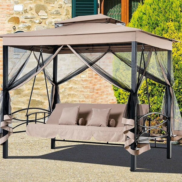 Kenyatta Outdoor Patio Daybed Canopy Gazebo Swing with Mesh Walls by Freeport Park