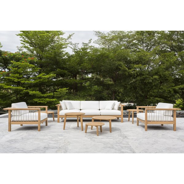 Maro 6 Piece Teak Sunbrella Sectional Set with Cushions by OASIQ