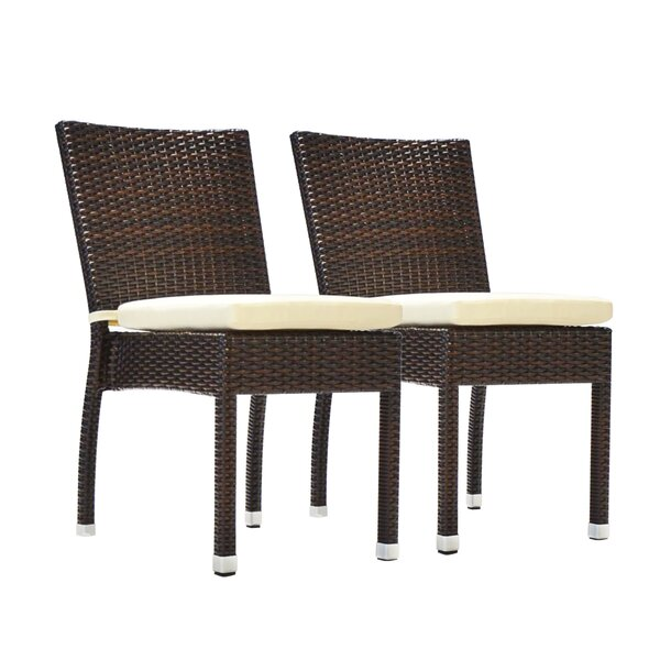 Genao Stacking Patio Dining Chair with Cushion (Set of 2) by Wrought Studio