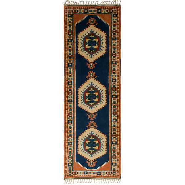 One-of-a-Kind Abrams Hand-Knotted Wool Orange/Navy Blue Area Rug by Isabelline