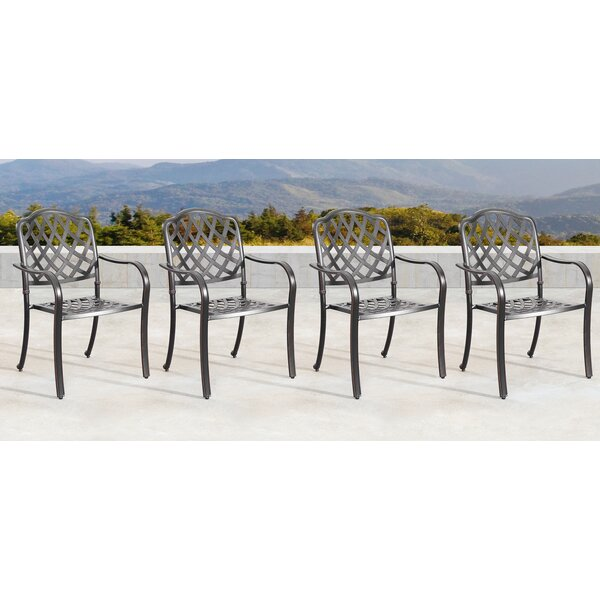 Mccollom Mesh Lattice Stacking Patio Dining Chair (Set of 4) by Canora Grey