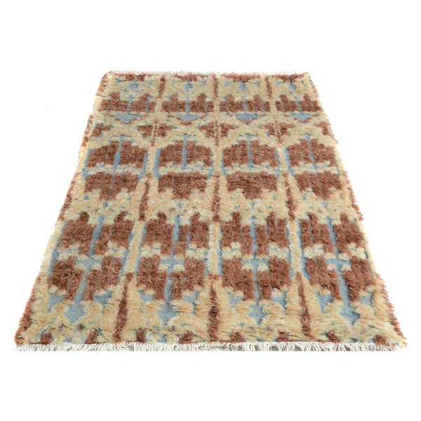 Alfredo Moroccan Hand-Knotted Wool Brown/Beige Area Rug by Isabelline