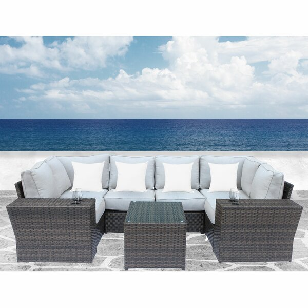 Winsford 9 Piece Sectional Seating Group with Cushions by Rosecliff Heights Rosecliff Heights