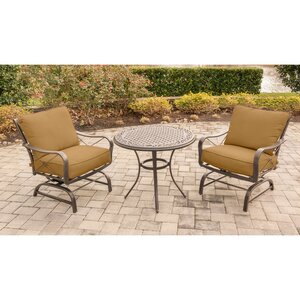 Rhonda 3 Piece Rockers Deep Seating Group with Cushions Fleur De Lis Living