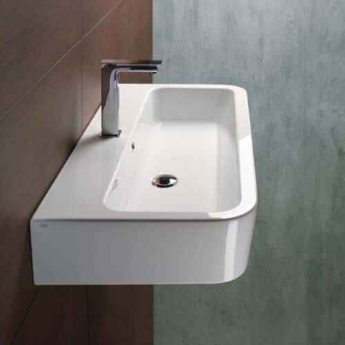 Traccia Ceramic Rectangular Vessel Bathroom Sink with Overflow