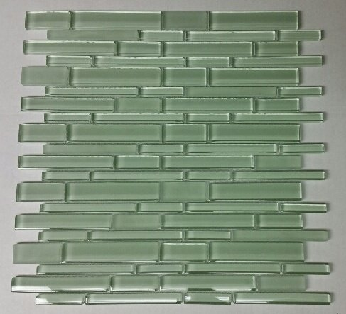 12 x 12 Glass Random Strip Mosaic Clear & Frosted MAG-053-ST by Seven Seas