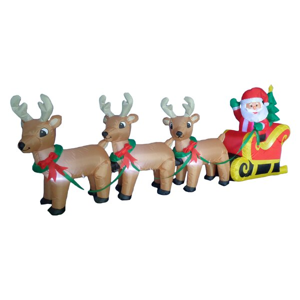 Christmas Inflatable Santa Claus on Sleigh Sled In