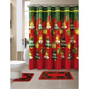 15 piece christmas shower curtain set with 12 hooks - Christmas Shower Curtain Set