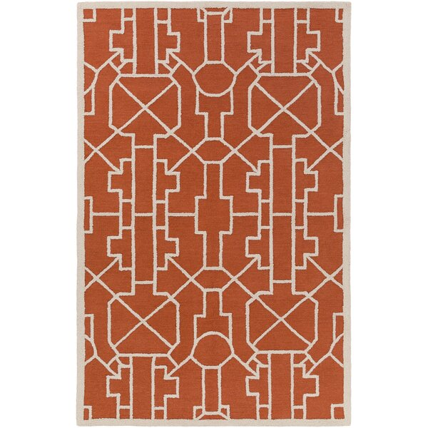 Salamanca Hand-Crafted Poppy Red Area Rug by Mercer41