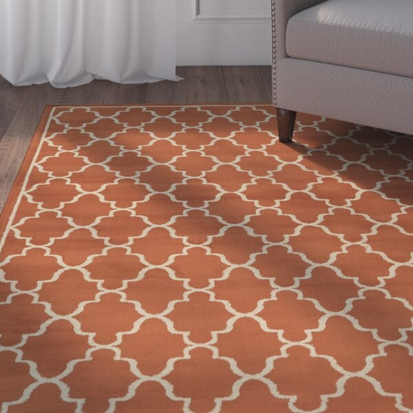 Delshire Lattice Orange Area Rug by Charlton Home