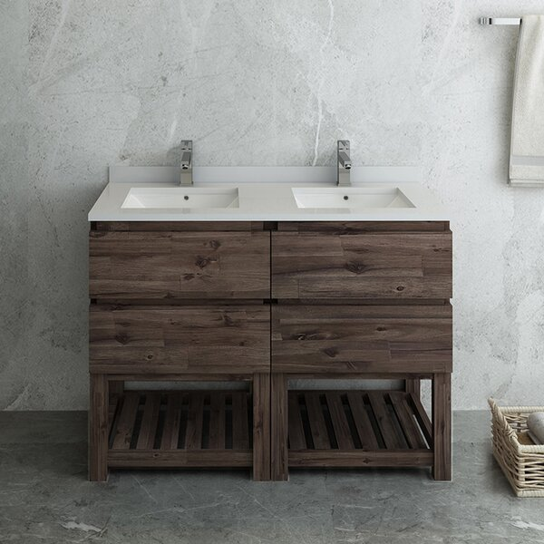 Formosa Floor Standing Open Bottom 48 Double Bathroom Vanity Set