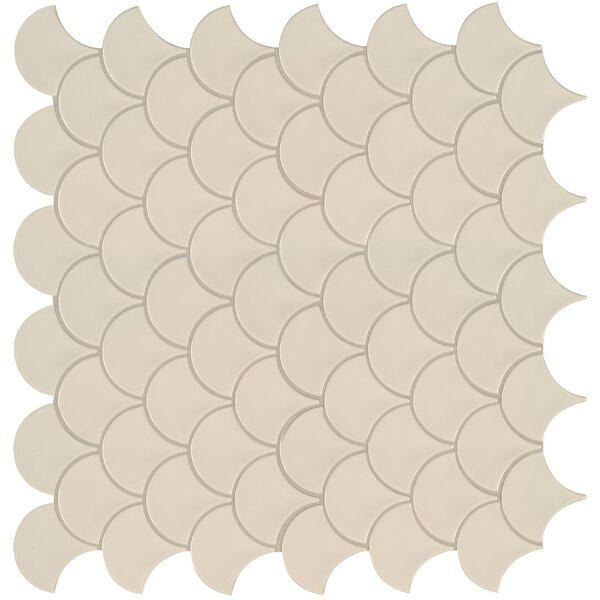 Domino Fish Scale Mesh Mounted 10.2 x 10.74 Porcelain Mosaic Tile in Almond by MSI