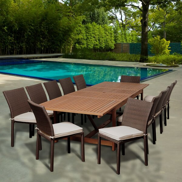 Carnaff 13 Piece Rectangular Dining Set With Cushions by Rosecliff Heights