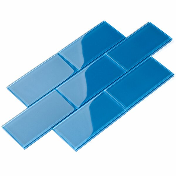3 x 6 Glass Subway Tile in Azure by Giorbello