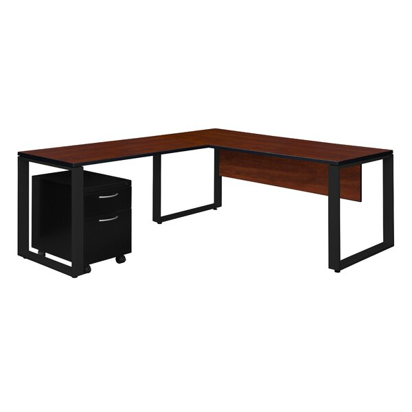 Mireya Single Mobile Pedestal L-Shape Executive Desk by Ebern Designs