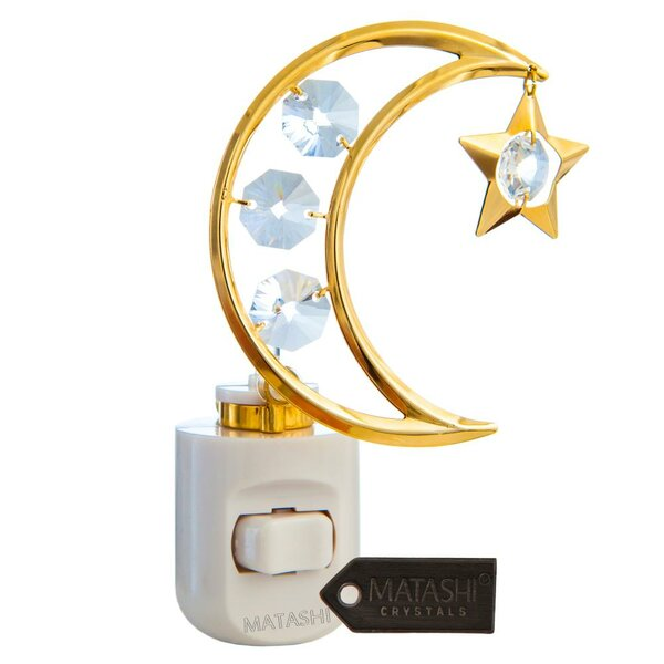 24K Gold Plated Crystal Studded Moon and Dangling Star Multi-Colored LED Night Light by Matashi Crystal