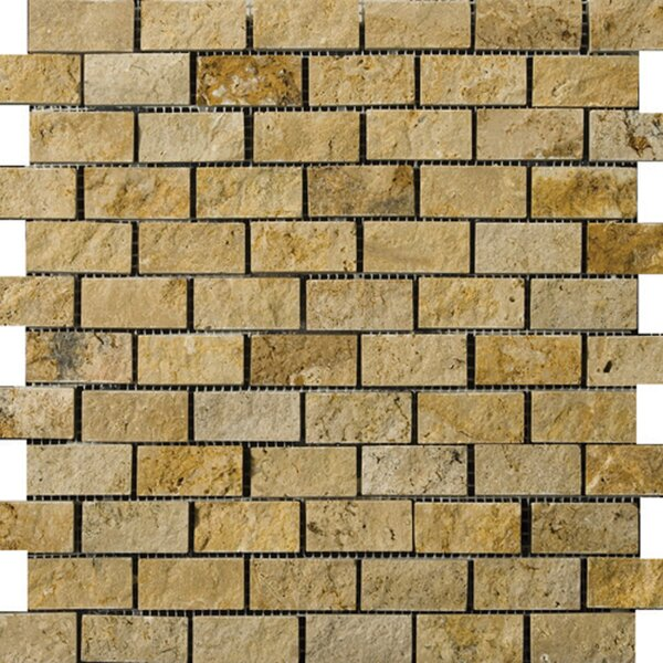 1 x 2 Travertine Splitface Mosaic Tile in Gold by Emser Tile