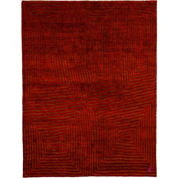 One-of-a-Kind Ettinger Hand-Knotted Traditional Style Red 6' x 9' Wool Area Rug
