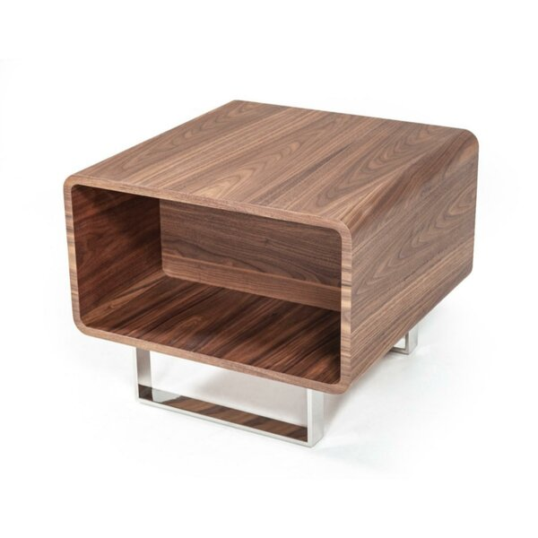 Chouinard Wood and Stainless Steel End Table by Orren Ellis Orren Ellis