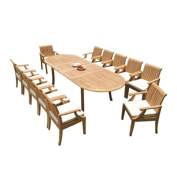 Euben 13 Piece Teak Dining Set by Rosecliff Heights