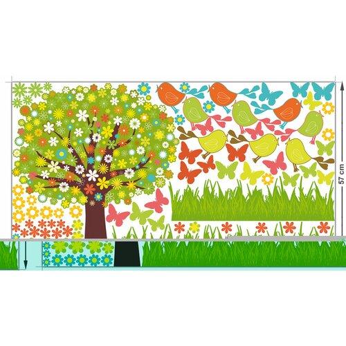 Wandsticker-Set Baum Vögel| Wiese| Blumen| Falter Roomie Kidz | Dekoration > Wandtattoos > Wandtattoos | Roomie Kidz