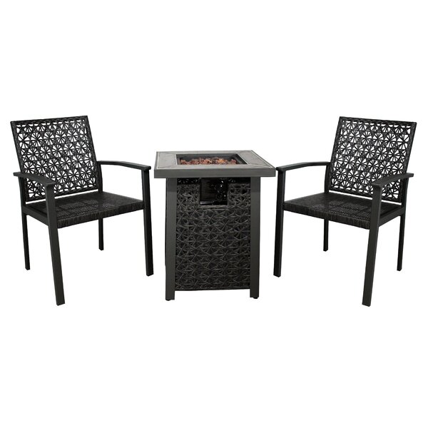 Cliffridge 3 Piece Rattan Conversation Set by Bungalow Rose