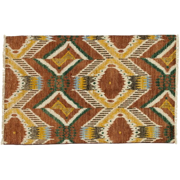 One-of-a-Kind Ikat Hand-Knotted Brown Area Rug by Darya Rugs