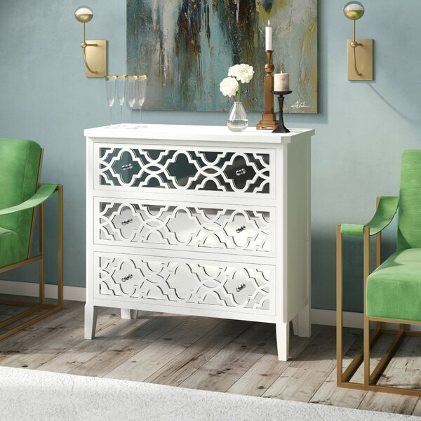 Lelia Mirrored 3 Drawer Chest by Willa Arlo Interiors
