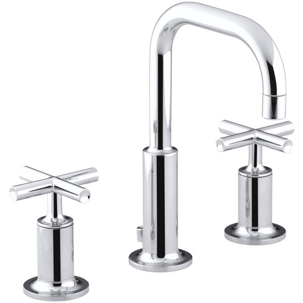 Purist Widespread Bathroom Sink Faucet with Low Cross Handles and Low Gooseneck Spout by Kohler