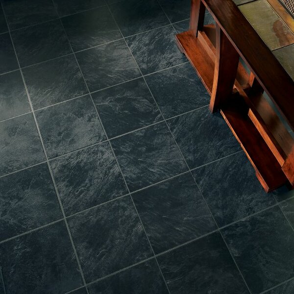 Stones and Ceramics 11.81 x 47.48 x 8.3mm Tile Laminate Flooring in Slate Ebony Mist by Armstrong Flooring